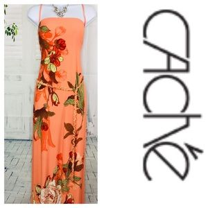Cache Orange Multi Floral Maxi Dress New XL